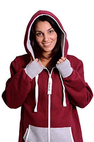 The Classic Unisex Onesie in Burgundy and Fire Ash Grey - L - 4