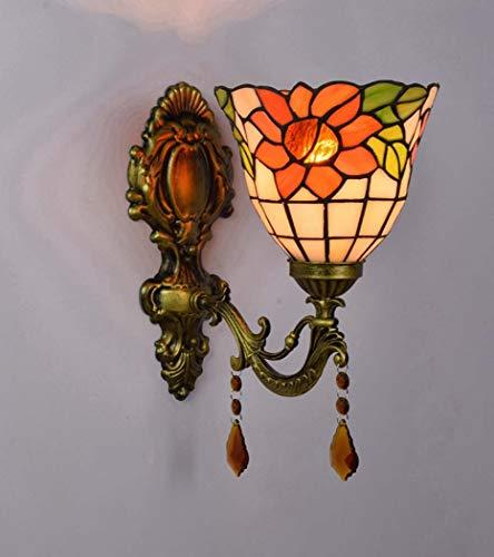 DSHBB Tiffany-Stil-Wandleuchten, Europäischer Romantischer Spiegel-Scheinwerfer Sun Flower, Wohnzimmer, Schlafzimmer, Nachttischdekoration, Wandleuchte, Ganglichter (Farbe : Einzelner Kopf)