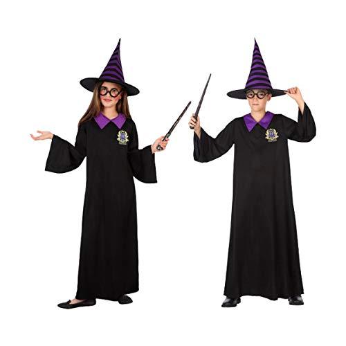 Cisne 2013, S.L. Disfraz para Halloween Infantil de Mago Color Negro y Morado. Talla 7-9 años de niña y niño. Cosplay Halloween Mago Harry Potter Negro.