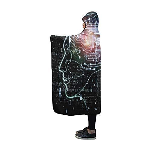 JOCHUAN Coperta con Cappuccio CPU Mind Series Scenografia Design Coperta Umana 60x50 Pollici Comodo da Avvolgere con Cappuccio