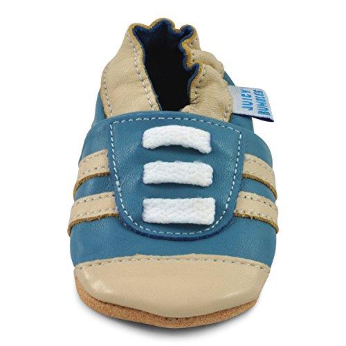 Juicy Bumbles - Weicher Leder Lauflernschuhe Krabbelschuhe Babyhausschuhe mit Wildledersohlen. Junge Mädchen Kleinkind 0-6 Monate 6-12 Monate 12-18 Monate 18-24 Monate Blaue Turnschuhe