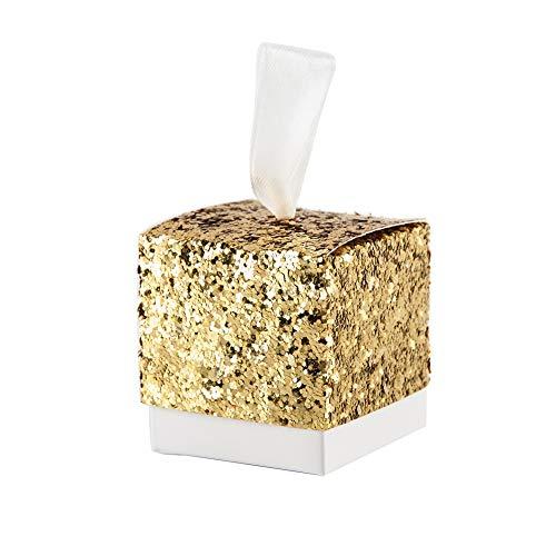 Toruiwa 50X Geschenkbox Pailletten Papier Pralinenschachtel Hochzeit Süßigkeiten Boxen für Hochzeit Geburtstag Baby Dusche Weihnachten Taufe Kinder Party Babyparty 5 * 5 * 5cm