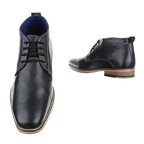 Ital-Design Stiefeletten Herren Leder Schuhe Chelsea Boots Blockabsatz Schnürer Schnürsenkel Boots Schwarz