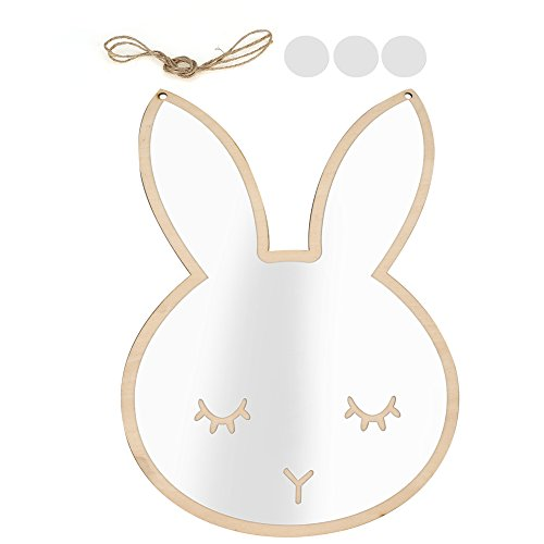 GOTOTOP Cute Rabbit Cloud Removable Spiegel Wandaufkleber Aufkleber Dekorative Kunst Kinder Kinderzimmer, Silber (Rabbit)
