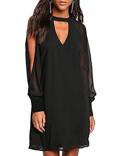 YOINS Sommerkleid Damen Sexy Kleid Langarm Blusenkleid für Damen Tshirtkleid Skaterkleid V-Ausschnitt Langes Kleid mit Ärmeln C-Schwarz EU46