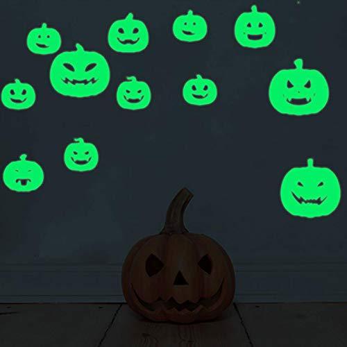 (MOONRING Leuchtende Wandtattoos Aufkleber DIY Klebstoff im Dunkeln leuchten Wandaufkleber Wandtattoos für Schlafzimmer Wohnzimmer, Kürbis Kopf (12 stücke))