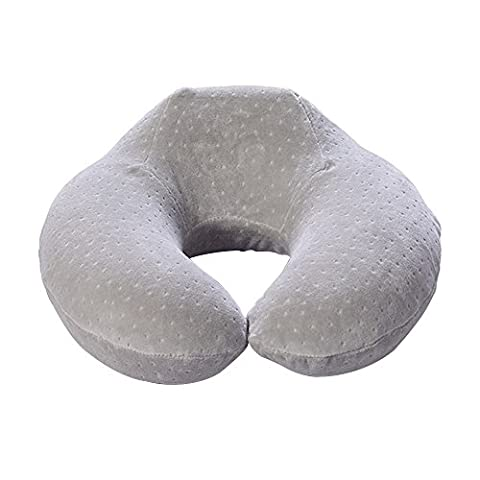 Eizur U-shaped Pillow Memory Foam Neck Support Pillow Portable Outdoor Travel Cushion Sleeping Cervical Protection Soft Head Rest Pillow for Afternoon Nap Airplane Car Bus Train Home Office Use--Gray