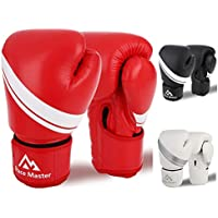 Brace Master Guantes Boxeo Cuero Unisex 8-16 OZ con Gel en Interior para Aumentar la Protección, Guantes de Entrenamiento Profesionales para Combates, Kickboxing, Boxeo, Lucha, Muay Thai al Aire Libre (Rojo, 12-OZ)