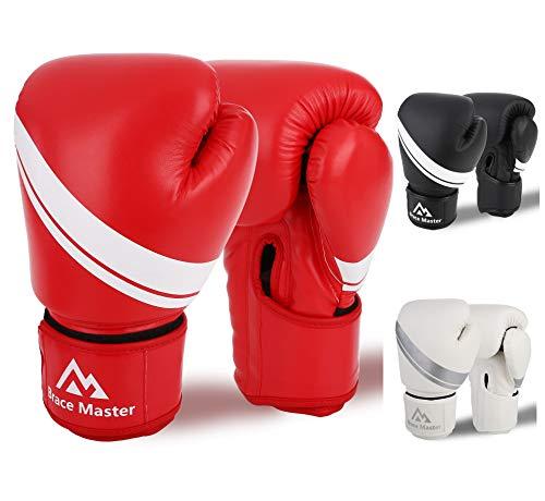Brace Master Boxhandschuhe Leder infundiertes Gel, Trainingshandschuhe für Sparring, Kickboxen, Boxsack, Sport & Outdoor Spiele für Männer und Frauen 8-16 OZ (Rot, 10-OZ)