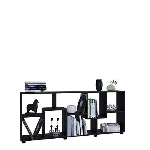 AISEN Regal PISA A mit 8 Fächern, Farbe Schwarz, Maße 161 x 69 x 25 cm