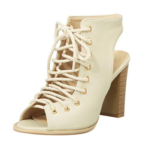 Damen Wide Fit Sandaletten - Schnürstiefeletten mit offener Zehenspitze Peep Toe High Heels Sommer Schuhe Komfort Party Schuh Kleid Booties