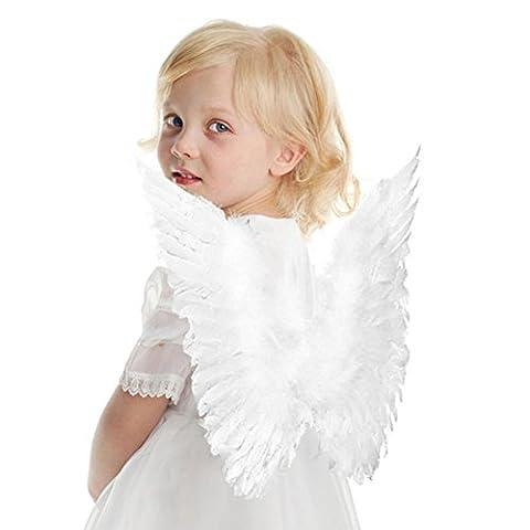 HENGSONG Engelsflügel Karneval Kostüm Feder Flügel für Kinder 45 * 35 cm Weiß