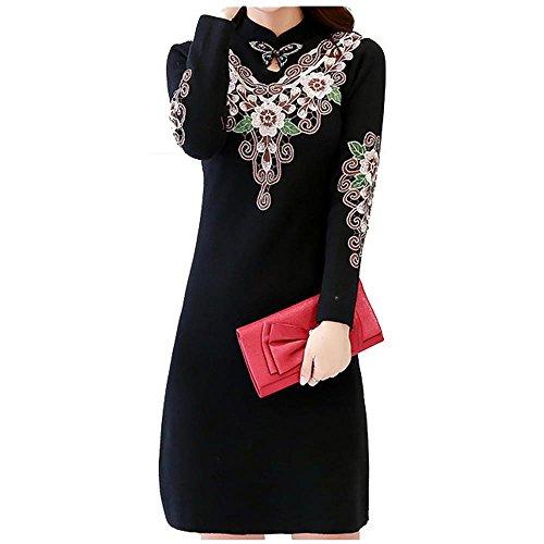 ALUK- Stile cinese - Maglione basa la camicia spessa Autunno Inverno Cheongsam vestito dal maglione a manica lunga ( colore : Nero , dimensioni : L. )