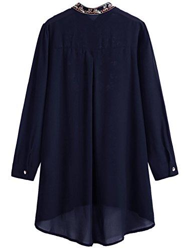 ROMWE Damen Lang Bluse mit Blumen Stickerei Stehkragen Locker Vorne Kurz  Hinten Lang Bluse Marineblau d762f858dc