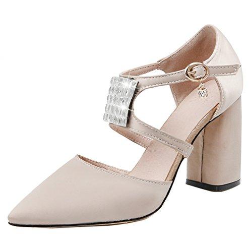 ENMAYER Femmes en caoutchouc à bout pointu Talons Buckle Strap Place strass Habillage Casual manches Sandales chaussures Beige