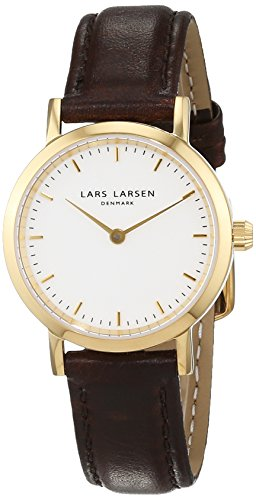 Lars Larsen  Women's Quartz Watch with White Dial Analogue Display and Black Leather Strap 124GWBLL