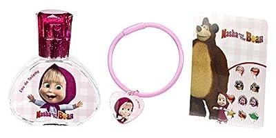 Mascha i Medwed Geschenk-Set (Schmuck-Set, bestehend aus Parfum, Armband und Sticker-Ohrringen) für Mädchen