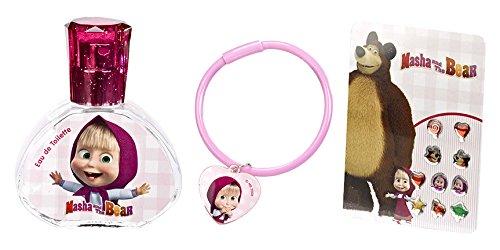 Masha et Michka Coffret Eau de Toilette pour fille 30 ml + Bracelet + Boucles d'Oreille Autocollantes