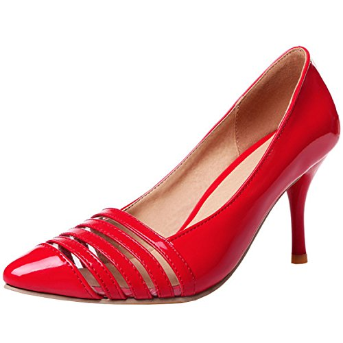 Azbro Women's Fashion Pointed Toe Slip-on Stiletto Party Pumps Red