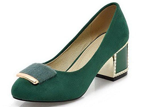 AllhqFashion Damen Ziehen auf Mittler Absatz Nubukleder Rein Rund Zehe Pumps Schuhe, Grün, 40 -