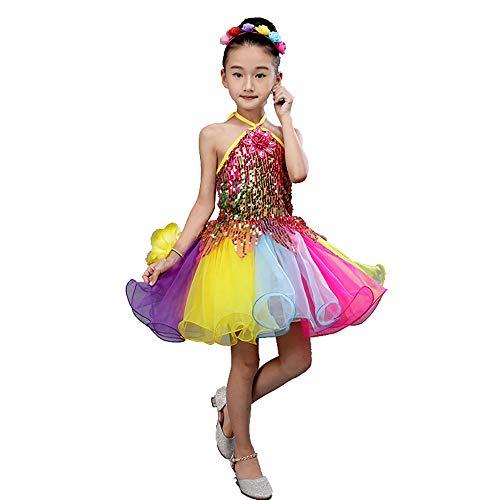 Xiao Jian- Tanzkleidung - Kinder Pettiskirt Kostüme Mädchen Prinzessin Kleid Chor Kindergarten Tanzkleid Pailletten Gaze Performance Kleidung Tanzuniform (Farbe : Bunte, größe : 140CM) (Kinder Show Chor Kostüm)