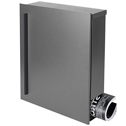 MOCAVI Box 110R Design-Briefkasten mit Zeitungsfach grau-aluminium (RAL 9007) Wandbriefkasten, Schloss links, groß, Aufputzbriefkasten dunkelgrau, Postkasten graualuminium modern mit Zeitungsrolle
