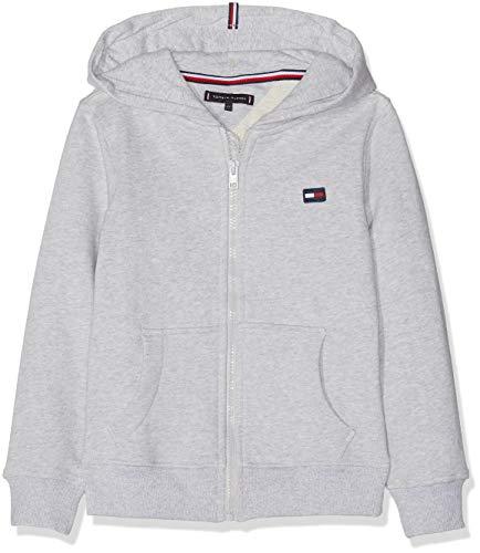Tommy Hilfiger Jungen Hilfiger Logo Zip Hoodie Kapuzenpullover, Grau (Grey Heather 004), 152 (Herstellergröße: 12) Kinder Sweatshirt Flag