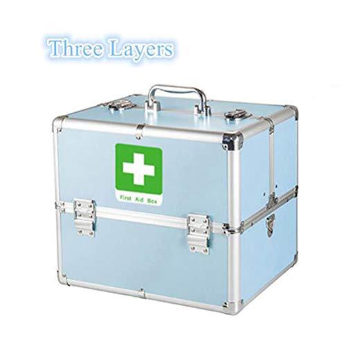 SMEI Abschließbare 3 Layer Erste Hilfe Schrank Fall Medizin Lagerung Container Box Notfall Überleben Kits Notfallbedarf E-sperr-doppel-lock 18 Zoll Sky Blue -