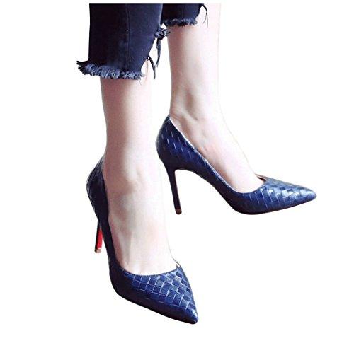 Weibliche Vintage High Heels sexy Stiletto Ferse Sandalen Sommer Mode flachen Mund Spitz-Zeh Schuhe ( Farbe : Blau , größe : 35 ) (Sexy Tanz Tragen)