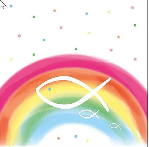 20 Servietten Fische auf bunten Regenbogen als Tischdeko zur Taufe, Kommunion und Konfirmation 33x33cm