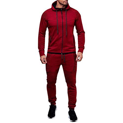 Survetement Homme Ensemble Sportwear Football Tenue de Sport 2 Pièces Pantalon de Sport Sweatshirt à Capuche Uni Zippe Manches Longues