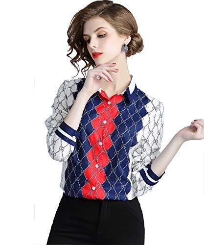 DOVWOER Elegant Damen Bluse mit Karierte Print Langarm Button-Down Frauen Hemd Casual Tops Oberteile,Weiß, 38