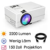 WONNIE Beamer Projektor, 2200 Lumen LED Mini HD Heimkino Projector Unterstützung 1080P Video HDMI VGA Decke/Stativ Installation für Smartphone, iPhone, iPad, Laptop, Tablette