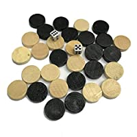 SEN Natural Wooden Chess Draughts & Checkers & Backgammon Chess Piece for Kids wood & black