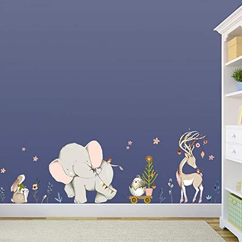 KLKL Wald Flowe Elefant Kaninchen Giraffe Tier Wandaufkleber Kinderzimmer Dekoration Vinyl Tapete Baby Schlafzimmer -