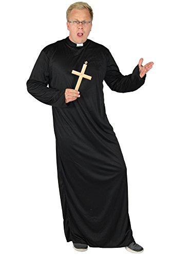 Foxxeo Priester Kostüm für Herren Robe mit Kragen in Größe M bis XXXXL - Pfarrer Talar Herrenkostüm Obergewand Gott Karneval Fasching Party Kirche schwarz Größe - Priester Roben Kostüm