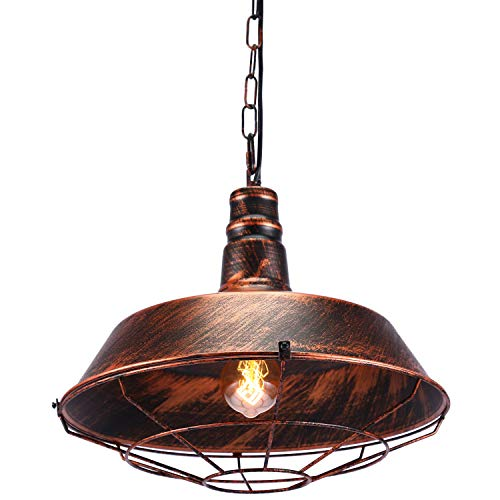 Maxmer Luz Vintage Colgante Luz Industrial Lámpara de Techo Retro Iluminación, Color Bronce