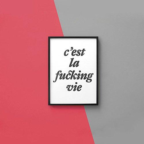 Linoldruck »c'est la fucking vie«, ungerahmt (DIN A4), Poster, Print