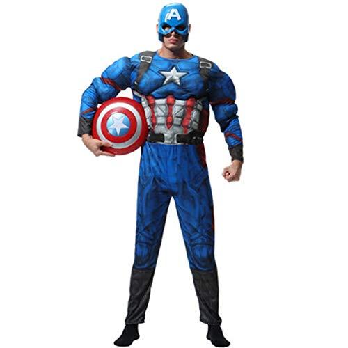 HYYSH Costume di Halloween per Adulti Maschi Avengers Eroe Capitan America Costume Cosplay