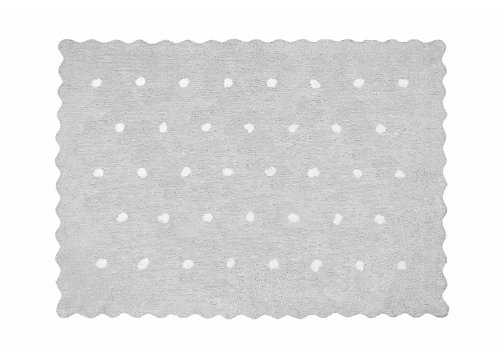 Aratextil Topitos Alfombra Infantil, Algodón, Gris, 120x160 cm