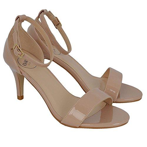 ESSEX GLAM Donna Tacco Basso Peep Toe Stiletto Sintetico Cinturino alla Caviglia Sandalo Carne Finto Patentato