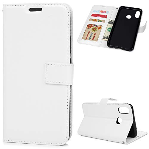 NaPuDt Huawei P Smart + Hülle Case Leder Schutzhülle PU Leder Wallet Handyhülle Magnet Handycover Flipcase Bookstyle Tasche Ständer Kartensteckplätzen Handytasche Lederhülle Weiß