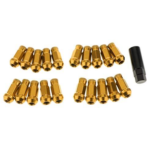 perfk 20 PCS Écrous de Roue Arrière à Tête Hexagonale Intérieure Ouverte - d'or