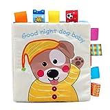 Yukio KinderToys-Stoffbuch Weiches Knisterbuch mit vielen Fühl- und Spieleffekten, Lernspielzeug Tuch Buch Babyspielzeug ab 6 Monaten (Hundchen)
