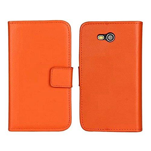 Lumia 820 Custodia,COOLKE [Arancione] Flip Protettiva Custodia Moda PU Pelle Stand Custodia Case Cover Per (Pronto Basamento Della Bandiera)