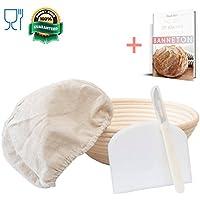 Banneton - Cesta redonda a prueba de brotes (5 piezas) – 21,6 cm con forro de cesta ropa – cortador de masa – Llama de pan / cuchillo herramienta de ...