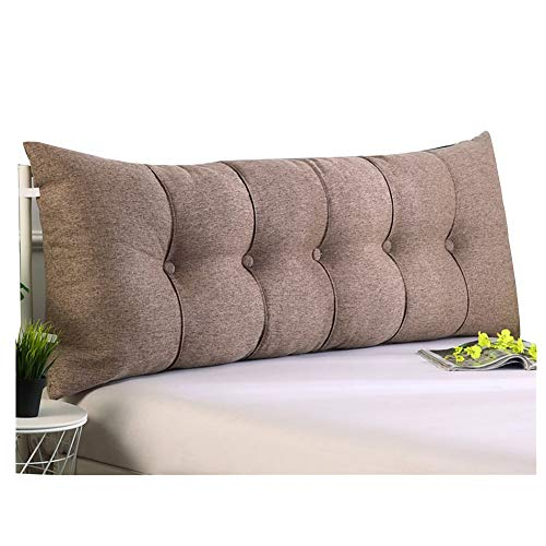 ZEMIN Kissen Bett Rückenkissen Rückenlehne Nachttisch Unterstützung Stereoskopisch Rechteck Atmungsaktiv Leinen, 6 Farben, 7 Größen (Farbe : #B Brown, größe : 60cm) -