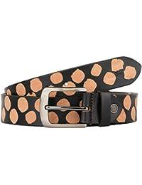 K London Black,Beige Men Casual Genuine Leather Belt (Blk_lprd_prnt)