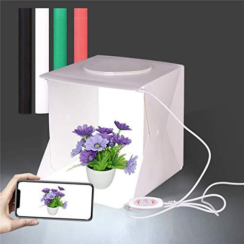 Fotostudio-Aufnahmezelt, 13' x 13' Fotobox mit Einstellbarer Helligkeit, Faltbare LED-Lichtbox, Softbox-Kit mit 4 Farbhintergründen für die Fotografi...