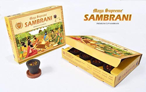 koya's Maya Supreme Premium Cup SAMBRANI (12 Cups)-India Temple Incense Sticks/Natural Fragrance - Choose The Scent and Use It at Home or Workplace
